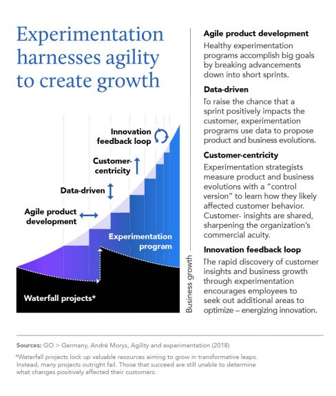 Chart showing experimentation steps and how it promotes agility and growth